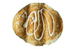 Fresh baked thin pancake on white isolated background. Food and baking royalty free stock photography