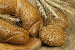 Fresh baked traditional bread and  buns Stock Photography