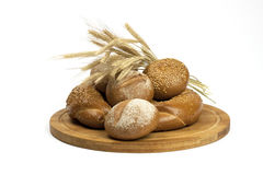 Fresh baked traditional bread and  buns Stock Photos