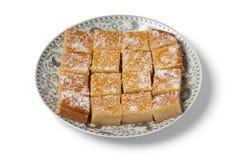 Fresh baked yogurt Moroccan cake royalty free stock images