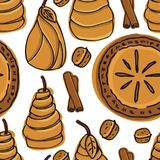 Fresh Bakery Delicious Pear Pie and Pears in Puff Pastry Seamless pattern. Set Stock Photo