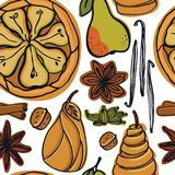 Fresh Bakery Delicious Pear Pie and Pears in Puff Pastry and spice Seamless pattern. Set Royalty Free Stock Photo
