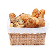 Fresh bakery products in a basket Stock Photography
