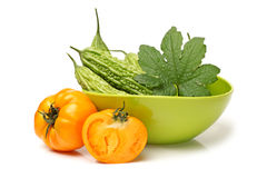 Fresh balsam pear and tomato Stock Photography
