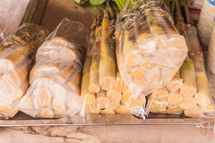 Fresh bamboo shoots in plastic pack for sale at local food market at Udornthani province, Thailand Royalty Free Stock Photo
