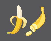 Fresh banana fruits, collection of vector illustrations. Peeled and sliced bananas Royalty Free Stock Image