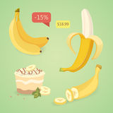 Fresh banana fruits, collection of vector illustrations. Set banana.Peeled and sliced bananas. Fresh banana fruits, collection of vector illustrations Royalty Free Stock Photography