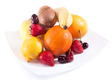 Fresh  banana  lemon orange grape cherry kiwi Royalty Free Stock Photo