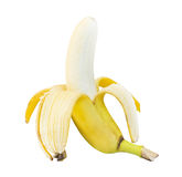 Fresh banana with an opened accurate peel. Isolated over white background Royalty Free Stock Photo