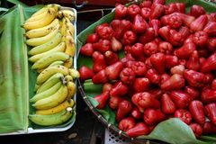 Fresh banana and rose apple Stock Photos