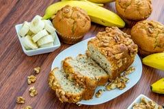 Fresh banana walnut bread Stock Photos