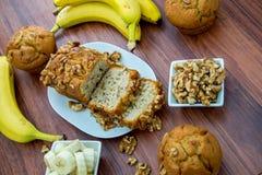 Fresh banana walnut bread Royalty Free Stock Photos