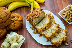 Fresh banana walnut bread Stock Image
