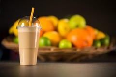 Fresh banana yogurt smoothie with fruits Royalty Free Stock Photos