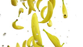 Fresh bananas falling with water drops. Slow motion. Realistic animation. Isolate with alpha channel.