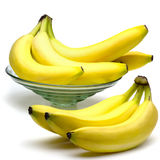Fresh Bananas. In a glass bowl Stock Photography