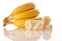 Fresh bananas isolated over white background Royalty Free Stock Photo