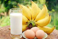 Fresh Bananas, Milk and Eggs. Royalty Free Stock Images