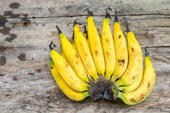 Fresh bananas on old wooden Stock Photography