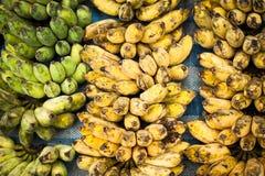 Fresh bananas at  outdoors market place Royalty Free Stock Photo