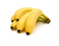 Fresh bananas on white  with clipping path Royalty Free Stock Photos