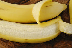 Fresh bananas. On wooden background Stock Photo