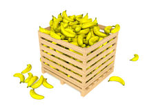 Fresh bananas in wooden box  on white background Stock Photo