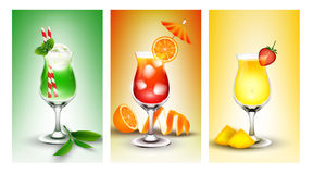 Fresh banner set of fruit juice Stock Photo