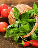 Fresh basil in a basket with vegetables Stock Images