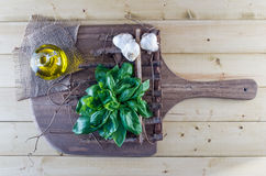 Fresh Basil, Olive Oil, and Garlic on Rustic Board Stock Photos