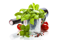 Fresh basil in the pot and italian ingredients Royalty Free Stock Photos