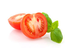 Fresh basil and tomatoes Stock Photos