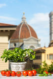 Fresh Basil and Tomatoes before a blue Sky Royalty Free Stock Photo