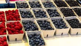 Fresh Baskets of Organically grown raspberries, blackberries and blueberries for sale at the downtown farmers market. Fresh Baskets of Organically grown Stock Photo