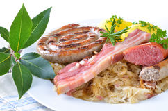 Fresh bavarian meat and sausages Stock Photo