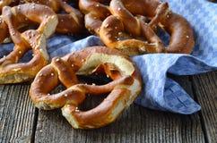 Fresh Bavarian pretzels royalty free stock images