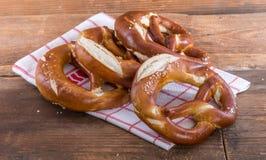 Fresh bavarian pretzels Stock Photos