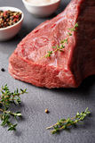 Fresh beaf meat. Raw beaf meat and  spices over stoun table Stock Photos