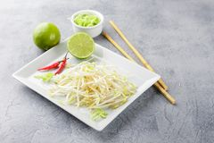 Bean sprouts in white plate. Royalty Free Stock Image