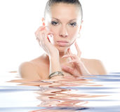 Fresh and Beautiful woman in water. Portrait of Fresh and Beautiful woman water Royalty Free Stock Images
