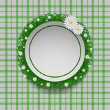 Fresh beauty circle spring background with grass and flowers vec Stock Photography