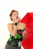 Fresh beauty with umbrella Royalty Free Stock Images