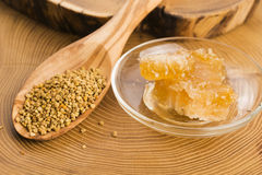 Fresh bee pollen with honeycomb Royalty Free Stock Image