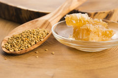 Fresh bee pollen with honeycomb Stock Photo