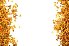 Fresh bee pollen isolated on white background with copy space for your text. Top view. Flat lay.  royalty free stock image