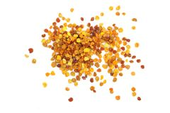 Fresh bee pollen isolated on white background. Top view. Flat lay.  royalty free stock photos
