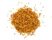 Fresh bee pollen isolated on white background. Top view. Flat lay.  royalty free stock images