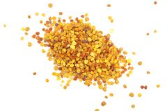 Fresh bee pollen isolated on white background. Top view. Flat lay.  stock image