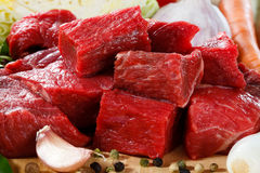 Fresh beef. Fresh raw meat and vegetables Stock Image