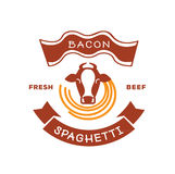 Fresh beef bacon spaghetti logo with cow illustration Stock Images